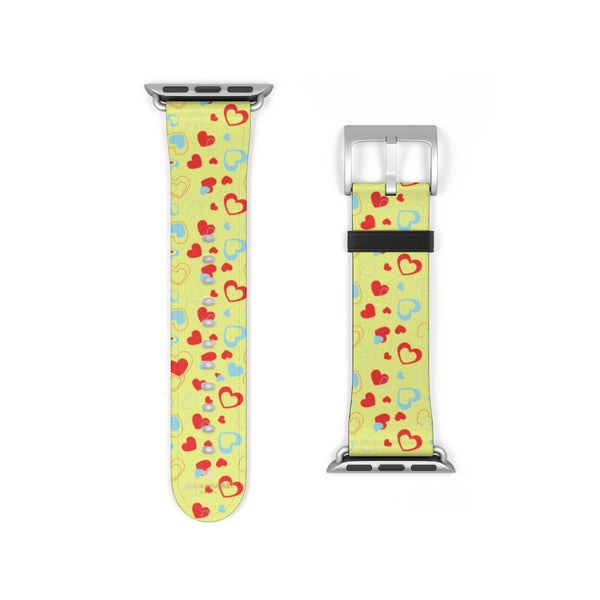 Light Yellow Red Hearts Shaped Valentines Day Print Premium 38mm/42mm Watch Band- Made in USA-Watch Band-38 mm-Silver Matte-Heidi Kimura Art LLC