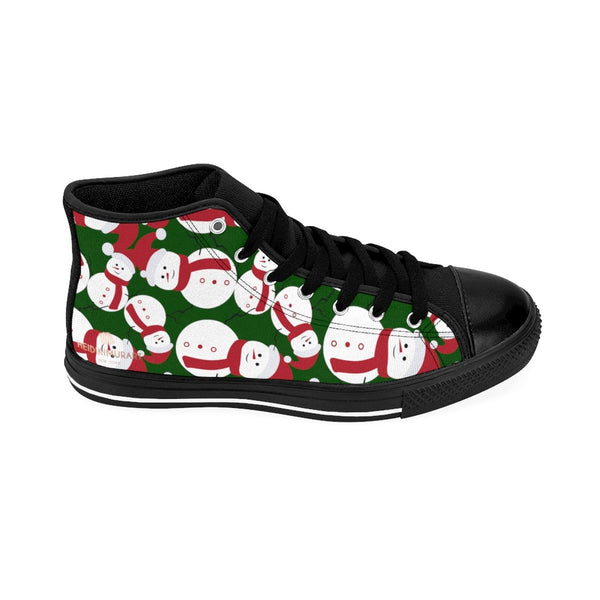 Dark Green Cute Christmas Red White Snowman Men's High-Top Sneakers-Men's High Top Sneakers-Heidi Kimura Art LLC Green Snowman Men's Sneakers, Dark Green Christmas Red White Snowman Men's High-Top Sneakers Christmas-Themed Footwear Shoes (US Size 6-14)