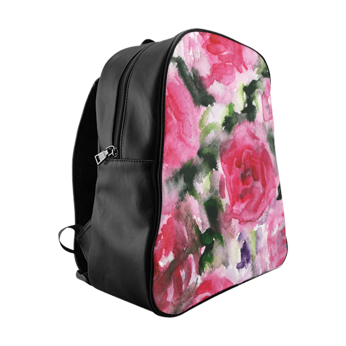 Round Red Pink Abstract Watercolor Rose Floral Print Designer School Backpack Bag-Backpack-Large-Heidi Kimura Art LLC