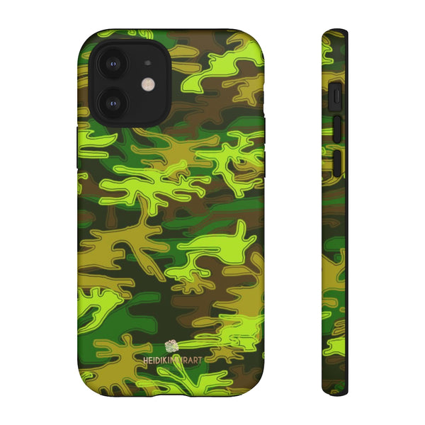 Green Camouflage Phone Case, Army Military Print Tough Designer Phone Case -Made in USA-Phone Case-Printify-iPhone 12-Matte-Heidi Kimura Art LLC
