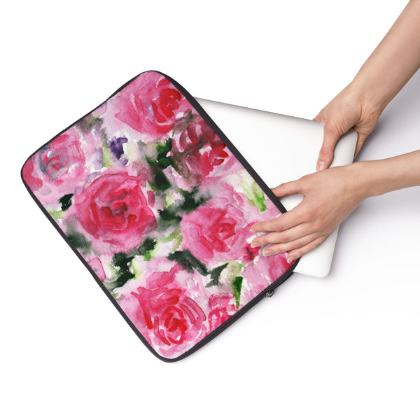 "Reddish Pink Rose Floral Print 12', 13"", 14"" Laptop Sleeve - Designed + Made in the USA-Laptop Sleeve-Heidi Kimura Art LLC"