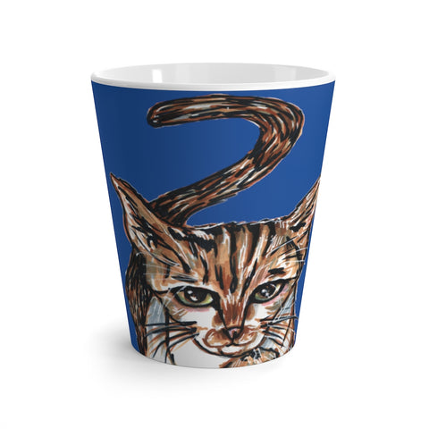 Blue Cute Cat 12 oz Latte Mug, Peanut Meow Cat Best White And Blue Ceramic Coffee Cup, Ceramic Latte Mug, Microwave-Safe, Dishwasher-Safe Tea Coffee Cup -Printed in USA, Cat Coffee Mug, Best Cat Mugs, Great Gifts For Cat Lovers