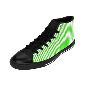 Green Striped High-top Sneakers, Vertically Green Stripes Men's Designer Tennis Running Shoes-Shoes-Printify-Black-US 9-Heidi Kimura Art LLC Green Striped High-top Sneakers, Vertically Green Modern Stripes Men's High Tops, High Top Striped Sneakers, Striped Casual Men's High Top For Sale, Fashionable Designer Men's Fashion High Top Sneakers, Tennis Running Shoes (US Size: 6-14)