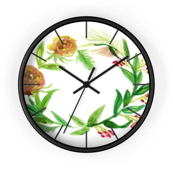 Orange Red Fall Roses Floral Print 10 inch Diameter Unique Wall Clock - Made in USA-Wall Clock-Black-Black-Heidi Kimura Art LLC