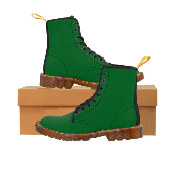 Emerald Green Seattle Solid Color Print Men's Canvas Winter Laced Up Boots Shoes-Men's Boots-Brown-US 8-Heidi Kimura Art LLC