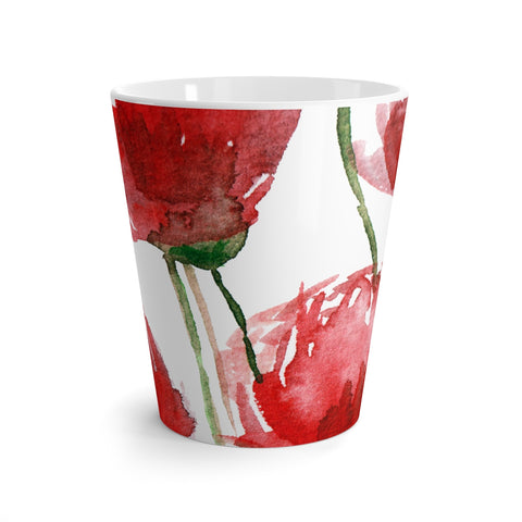 Bright Red Poppy Flower Floral Print 12 Oz. Coffee Latte Mug Cup- Made in USA-Mug-12oz-Heidi Kimura Art LLC