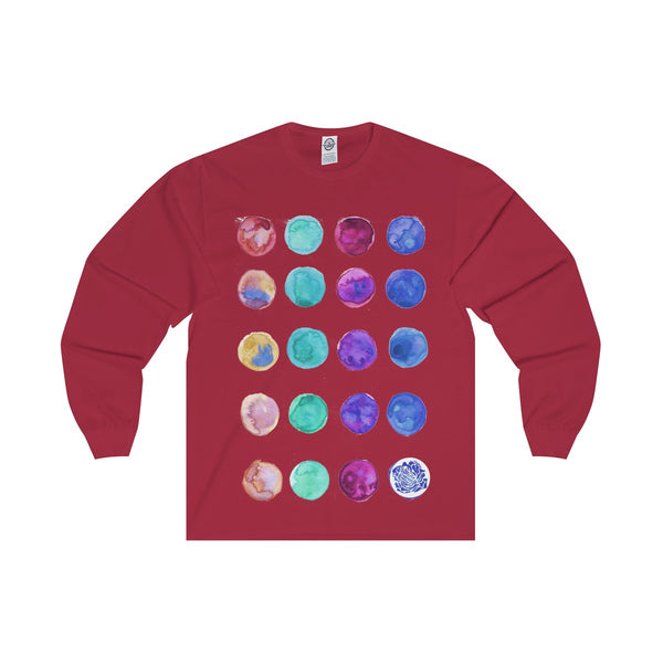 Polka Dots Unisex Designer Premium Long Sleeve Tee - Designed + Made in USA-Long-sleeve-Cardinal-S-Heidi Kimura Art LLC