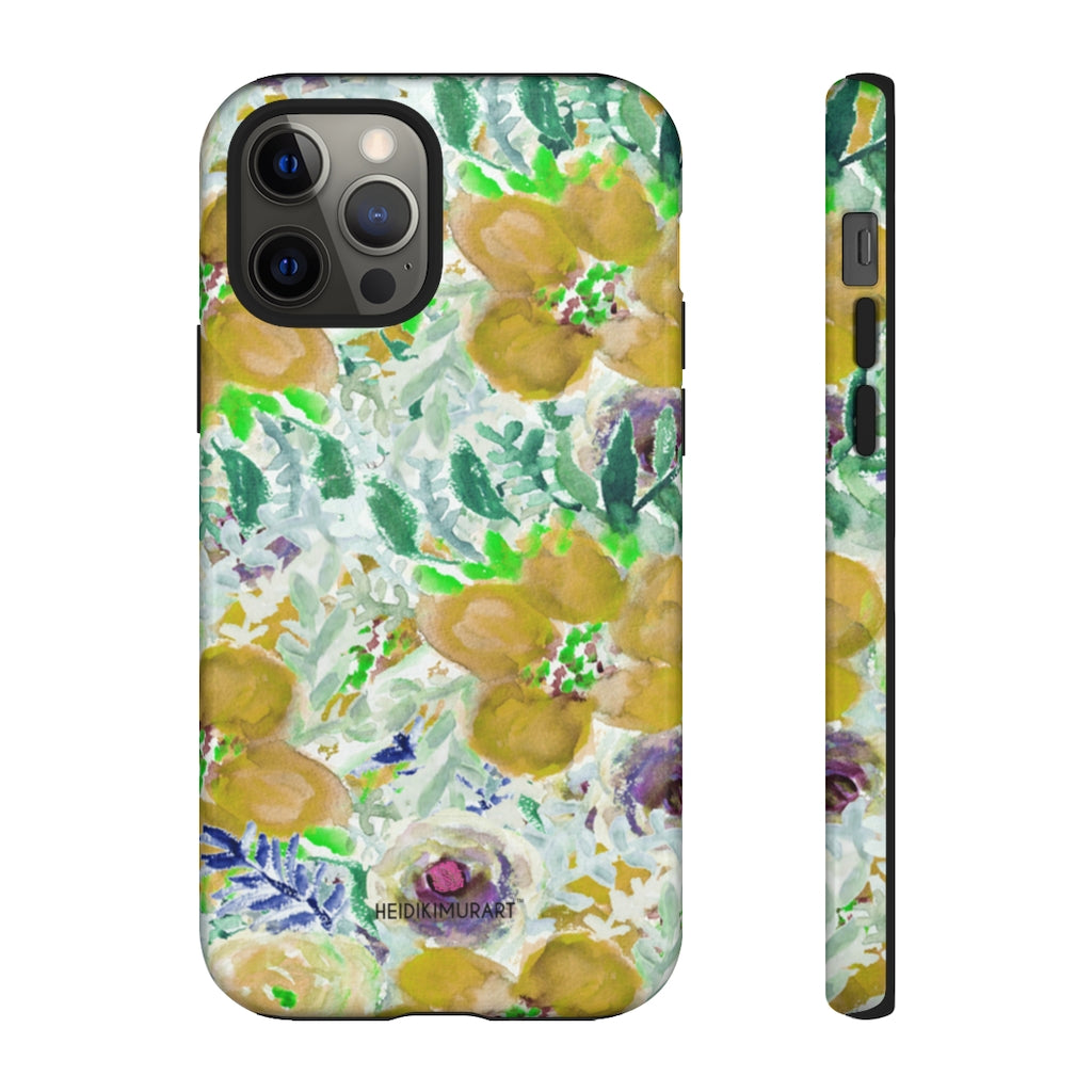 Yellow Floral Designer Tough Cases, Mixed Flower Print Best Designer Case Mate Best Tough Phone Case For iPhones and Samsung Galaxy Devices-Made in USA