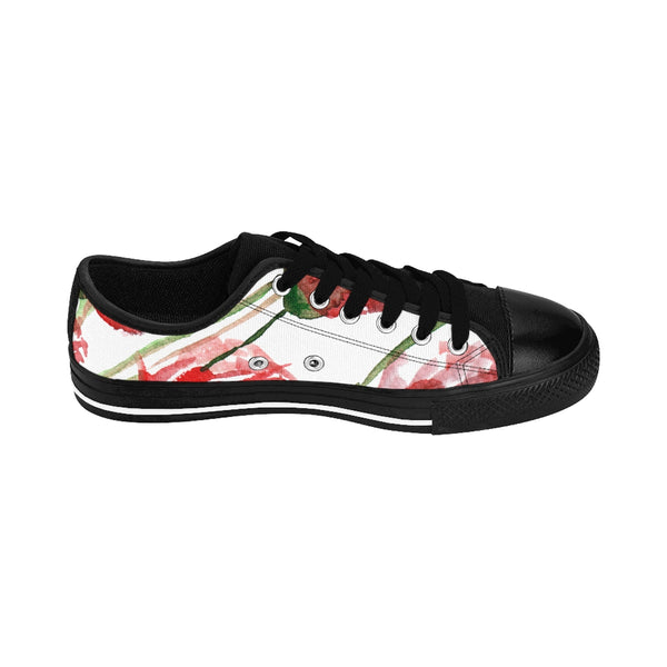 Red Poppy Bloom Floral Designer Women's Low Top Sneakers Running Shoes-Women's Low Top Sneakers-Heidi Kimura Art LLC