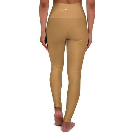 Beige Brown Workout Pants, High Waisted Yoga Leggings, Solid Color Long Women Yoga Tights-All Over Prints-Printify-Heidi Kimura Art LLC