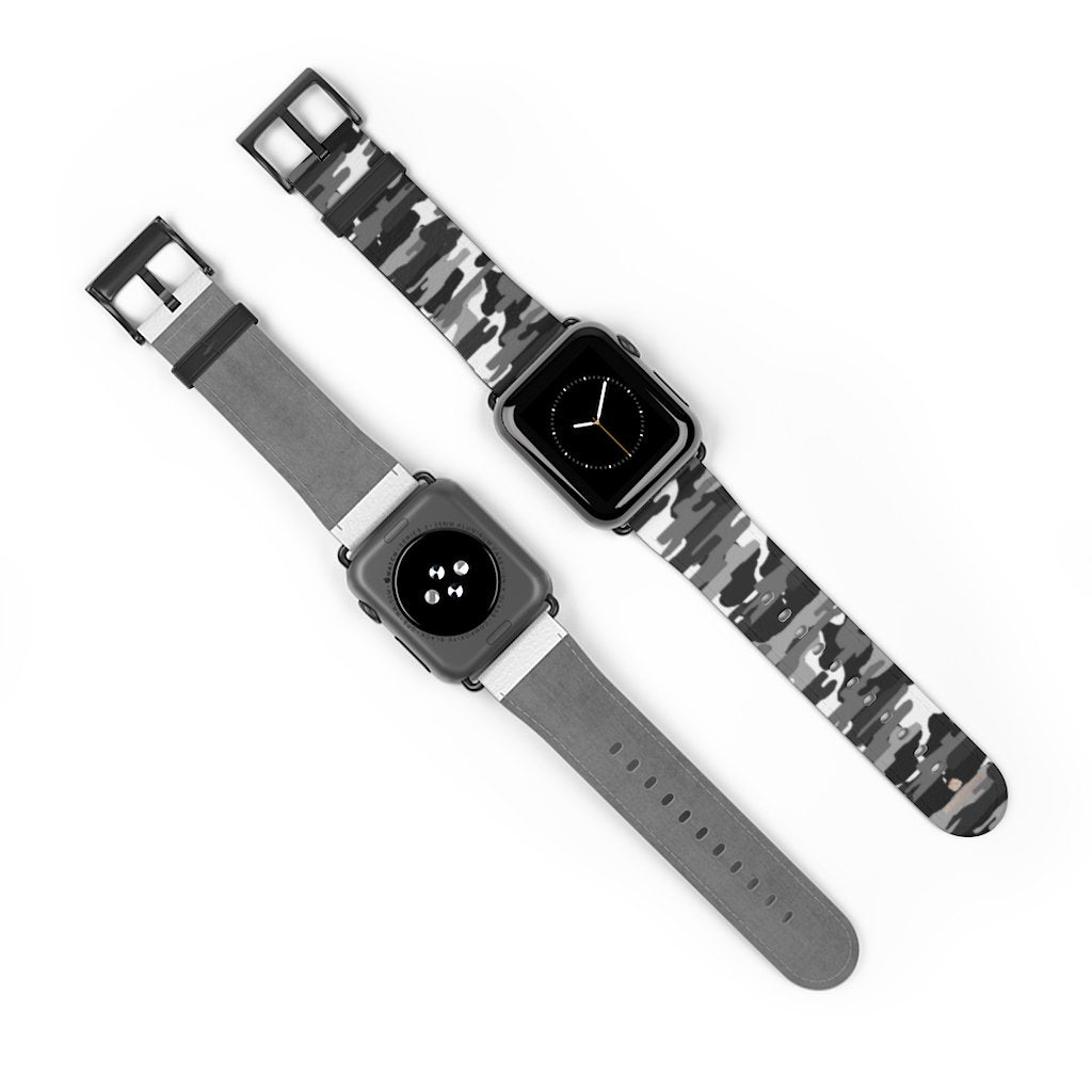 Gray & White Classic Camo Print 38mm/42mm Watch Band For Apple Watch- Made in USA-Watch Band-38 mm-Black Matte-Heidi Kimura Art LLC