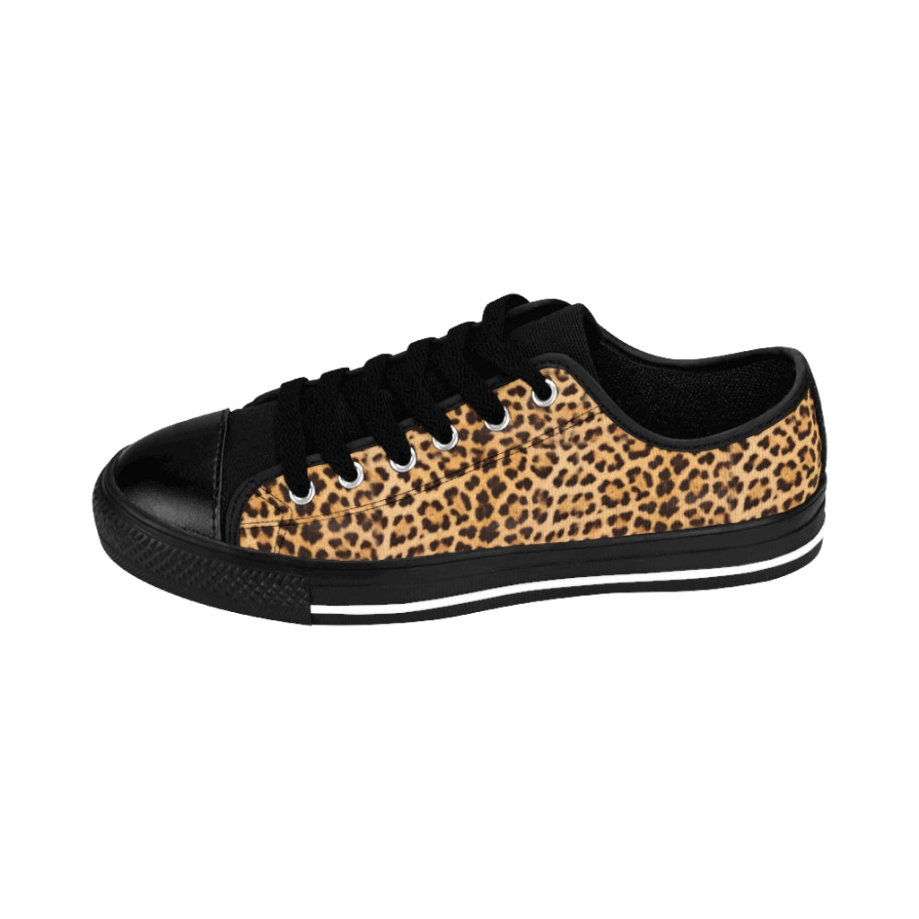 Brown Leopard Print Men's Sneakers, Designer Animal Print Best Low Top Shoes For Men-Shoes-Printify-Black-US 9-Heidi Kimura Art LLC Brown Leopard Print Men's Sneakers, Designer Wild Animal Leopard Print Best Premium Quality Designer Luxury Men's Low Top Nylon Canvas Sneakers (US Size: 7-14)