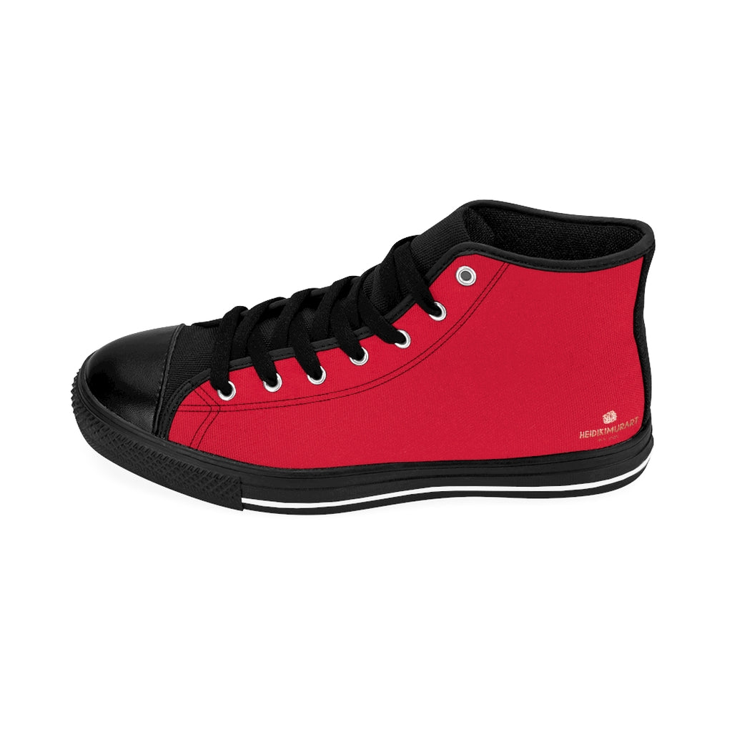 Bright Red Men's Sneakers, Hot Red Solid Color Print Designer Men's Shoes, Men's High Top Sneakers US Size 6-14, Mens High Top Casual Shoes, Unique Fashion Tennis Shoes, Solid Color Sneakers, Mens Modern Footwear (US Size: 6-14)