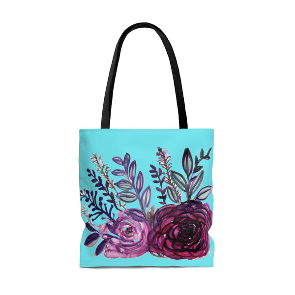 Sky Blue Rose Flower Floral Designer Small Medium or Large Tote Bag - Made in USA-Tote Bag-Heidi Kimura Art LLC