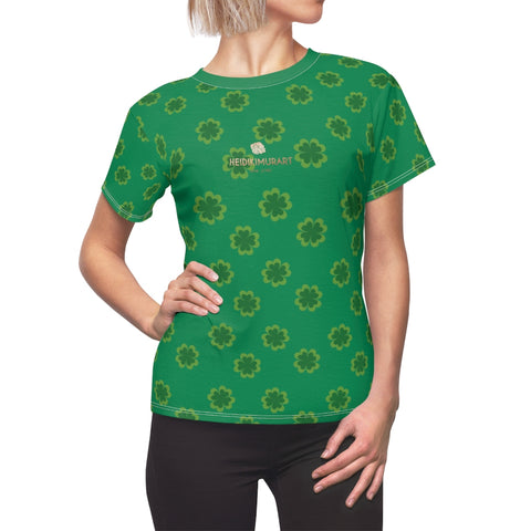 Dark Green Clover Pattern Print St. Patrick's Day Women's Crewneck Tee- Made in USA-Women's T-Shirt-L-White Seams-4 oz.-Heidi Kimura Art LLC