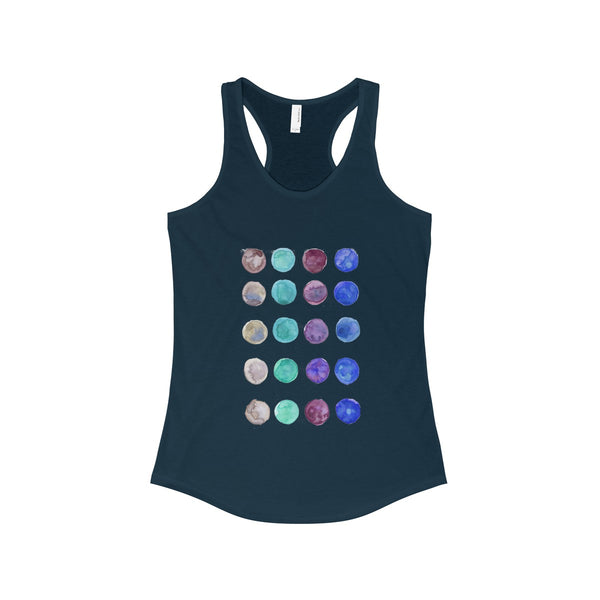 Polka Dots Colorful Designer Women's Ideal Racerback Tank -Made in the U.S.A.-Tank Top-Solid Midnight Navy-XS-Heidi Kimura Art LLC