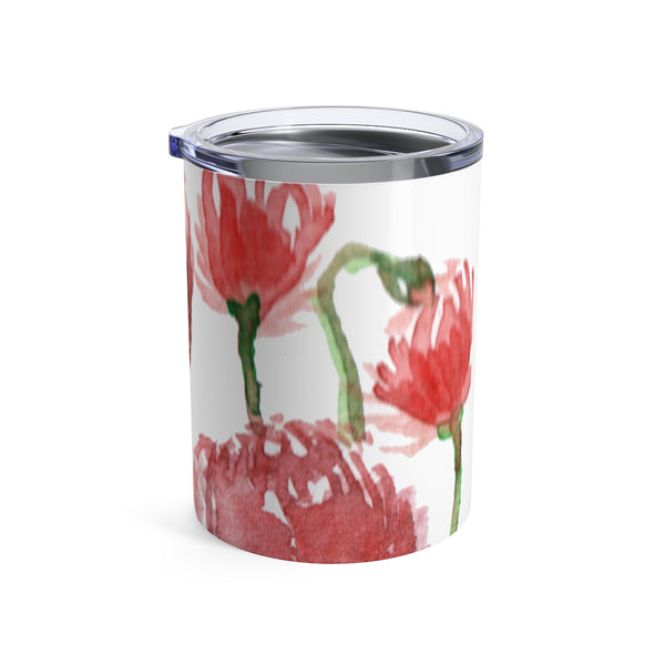 Red Poppy Flower Floral Print Spring Stainless Steel 10oz Tumbler - Made in USA-Mug-10oz-Heidi Kimura Art LLC