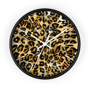 Brown Leopard Faux Fur Animal Print Pattern 10 inch Diameter Wall Clock - Made in USA