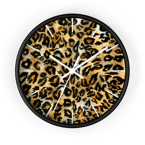 "Brown Leopard Print Wall Clock, Animal Print Pattern 10"" Dia. Indoor Clock-Made in USA-Wall Clock-Black-White-Heidi Kimura Art LLC"