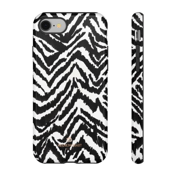 White Tiger Stripe Phone Case, Animal Print Best Tough Designer Phone Case -Made in USA-Phone Case-Printify-iPhone 8-Glossy-Heidi Kimura Art LLC