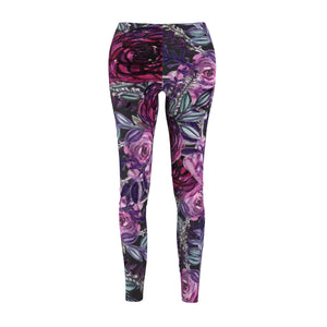 Grey Floral Print Women's Casual Leggings, Floral Dressy Tights For Women - Made in USA-Casual Leggings-M-Heidi Kimura Art LLC