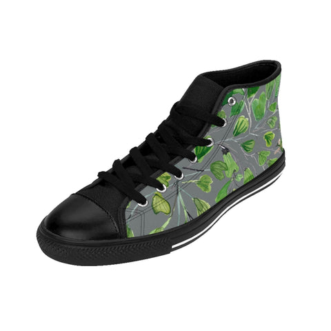 Grey Maidenhair Men's Tennis Shoes, Tropical Print Designer Best High-top Sneakers For Men-Shoes-Printify-Heidi Kimura Art LLC Grey Fern Men's High-top Sneakers, Green Cute Maidenhair Leaf Print Designer Men's High-top Sneakers Running Tennis Shoes, Fern Leaves Designer High Tops, Mens Floral Shoes, Tropical Leaf Print Sneakers (US Size: 6-14)