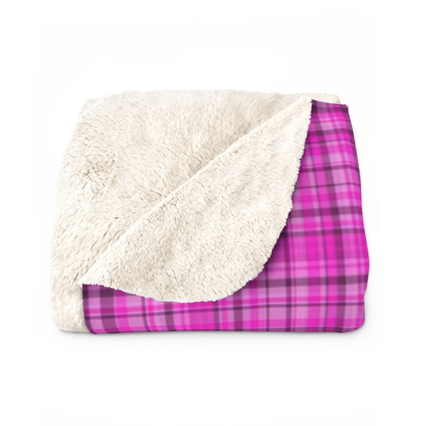 Pink Tartan Plaid Print Designer Cozy Sherpa Fleece Blanket-Made in USA-Blanket-Heidi Kimura Art LLC