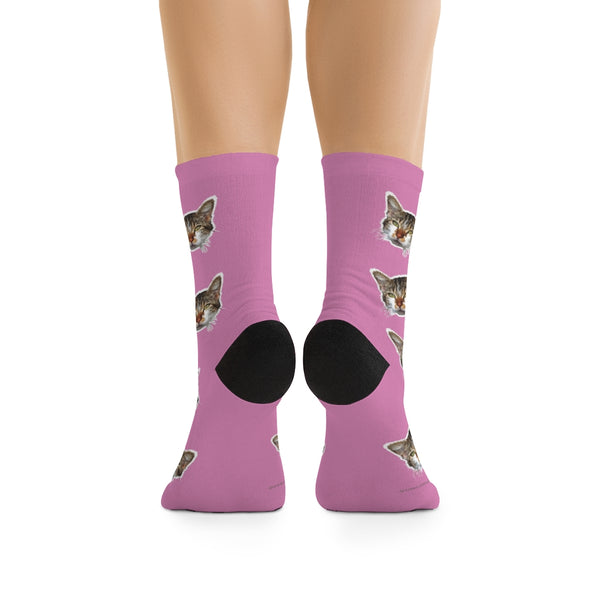 Light Pink Cat Print Socks, Cute Calico Cat Print One-Size Knit Premium Socks- Made in USA-Socks-One size-Heidi Kimura Art LLC