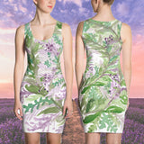 Fujiko  Lavender Print Women's Sleeveless Dress- Made in USA (Size: XS-XL) - Heidi Kimura Art LLC