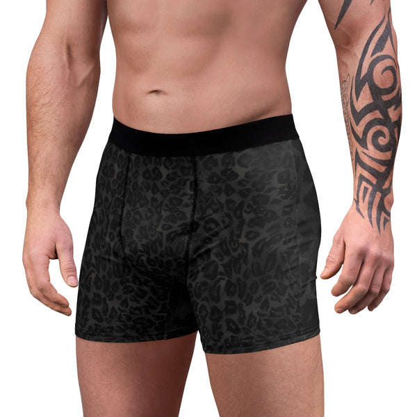 Black Leopard Men's Undies, Wild Animal Print Sexy Boxer Briefs Underwear(US Size: XS-3XL) Black Leopard Wild Animal Print Sexy Hot Men's Boxer Briefs Hipster Lightweight 2-sided Soft Fleece Lined Fit Underwear - (US Size: XS-3XL)