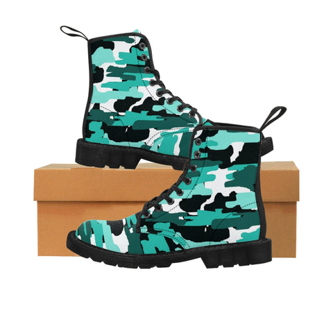 Aqua Blue Camo Men's Boots, Camouflage Camo Military Combat Work Hunting Boots, Anti Heat + Moisture Designer Men's Winter Boots Hiking Shoes (US Size: 7-10.5)