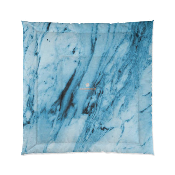 Blue White Marble Print Luxury Designer Best Comforter For King/Queen/Full/Twin-Comforter-88x88-Heidi Kimura Art LLC