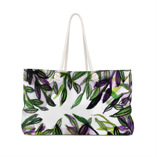 "Green Tropical Leaves Print Large Size 24""x13"" Weekender Bag - Made in USA-Weekender Bag-24x13-Heidi Kimura Art LLC"