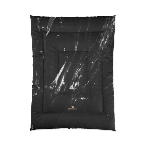 Black Marble Print Comforter, Luxury Best Comforter For King/Queen/Full/Twin Size Bed-Comforter-68x92-Heidi Kimura Art LLC