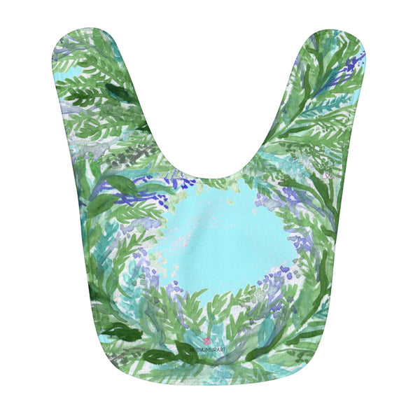 Blue Soft Lavender Floral Print Designer Fleece Baby Bib - Designed and Made in USA-Baby Bib-One Size-Heidi Kimura Art LLC