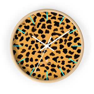 TTanega Beige Cheetah Animal Print Designer 10 in. Dia. Indoor Wall Clock- Made in USA,Animal Print Clock, Cheetah Print,Leopard Print Clockanega Beige Cheetah Animal Print Designer 10 in. Dia. Indoor Wall Clock- Made in USA, Unique Large Wood Wall Clock, Indoor Clock Home Decor