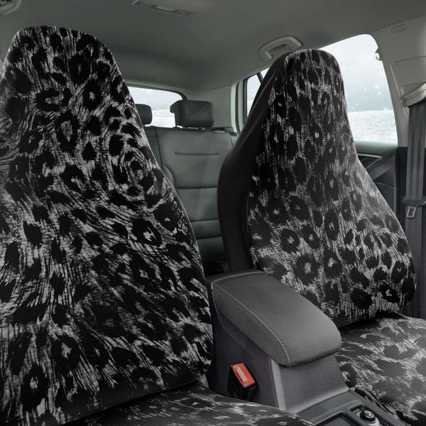 Leopard Car Seat Cover, Grey Leopard Animal Print Designer Essential Premium Quality Best Machine Washable Microfiber Luxury Car Seat Cover - 2 Pack For Your Car Seat Protection, Cart Seat Protectors, Car Seat Accessories, Pair of 2 Front Seat Covers, Custom Seat Covers