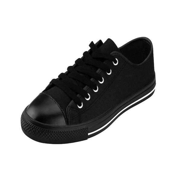 Charcoal Black Classic Solid Color Designer Low Top Women's Sneakers (US Size: 6-12)-Women's Low Top Sneakers-Heidi Kimura Art LLC Black Women's Sneakers, Charcoal Black Classic Solid Color Designer Low Top Women's Sneakers (US Size: 6-12)