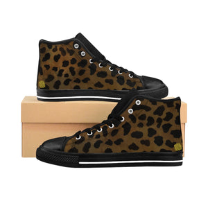 Brown Leopard Print Men's High-top Fashion Lace Up Fashion Sneakers Tennis Shoes-Men's High Top Sneakers-Black-US 9-Heidi Kimura Art LLC