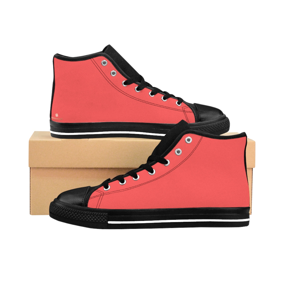Coral Pink Solid Color Classic Women's High Top Sneakers Running Shoes (US Size 6-12)-Women's High Top Sneakers-US 9-Heidi Kimura Art LLC Coral Pink Women's Sneakers, Coral Pink Solid Color Classic Women's High Top Sneakers Running Shoes (US Size 6-12)