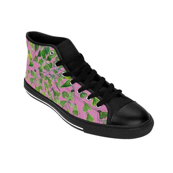 Pink Fern Men's High-top Sneakers, Green Cute Maidenhair Leaf Print Designer Men's High-top Sneakers Running Tennis Shoes, Fern Leaves Designer High Tops, Mens Floral Shoes, Tropical Leaf Print Sneakers (US Size: 6-14)