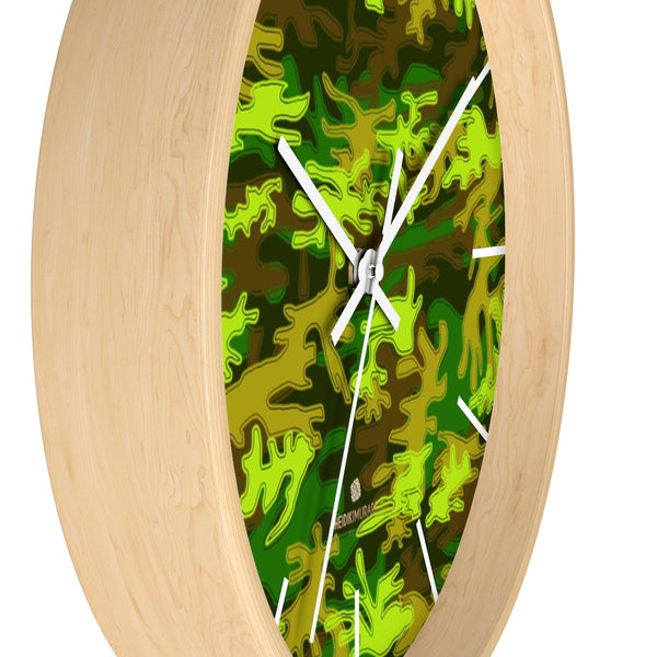 Bright Green Camo Camouflage Military Army Print Large Unique Wall Clocks- Made in USA-Wall Clock-Heidi Kimura Art LLC