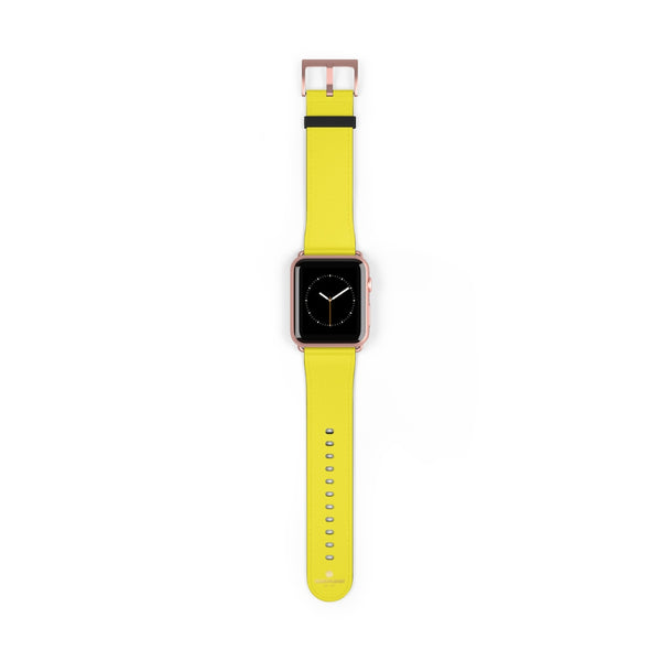 Yellow Solid Color 38mm/42mm Watch Band Strap For Apple Watches- Made in USA-Watch Band-42 mm-Rose Gold Matte-Heidi Kimura Art LLC