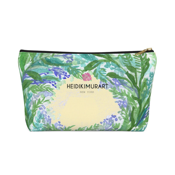 Yellow Purple French Lavender Floral Print Designer Accessory Pouch with T-bottom-Accessory Pouch-Black-Large-Heidi Kimura Art LLC