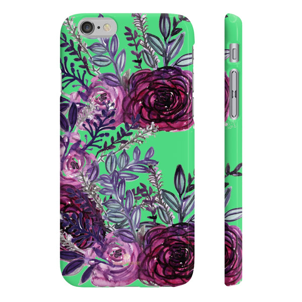 Lime Green Slim iPhone/ Samsung Galaxy Floral Purple Rose Phone Case, Made in UK-Phone Case-iPhone 6/6S Slim-Glossy-Heidi Kimura Art LLC