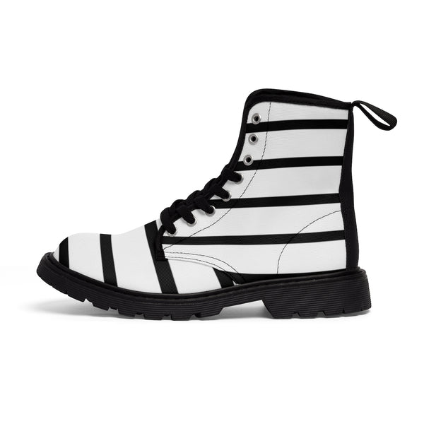 Striped Women's Canvas Boots, Modern White Black Stripes Print Winter Boots For Ladies-Shoes-Printify-Heidi Kimura Art LLC