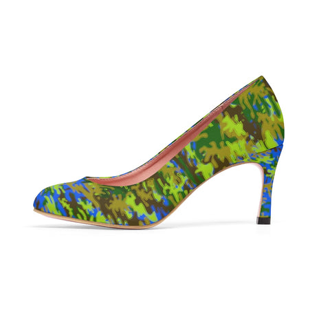 Blue Green White Camo Military Army Print Premium Women's High Heels Shoes-3 inch Heels-US 7-Heidi Kimura Art LLC Blue Green Camo Heels, Blue & Green White Camo Military Army Print Premium Women's 3 inch Designer High Heels Shoes Stylish Pumps, Camouflage Heels, Camo Heels, Camo Shoes, Green Camo Heel, Army Camo High Heels, Camouflage High Heel Shoes (US Size: 5-11)