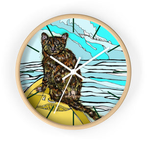 Boat Cat Print Wall Clock, Brown Orange Cat Print 10 in. Dia. Indoor Clock- Made in USA-Wall Clock-10 in-Wooden-White-Heidi Kimura Art LLC