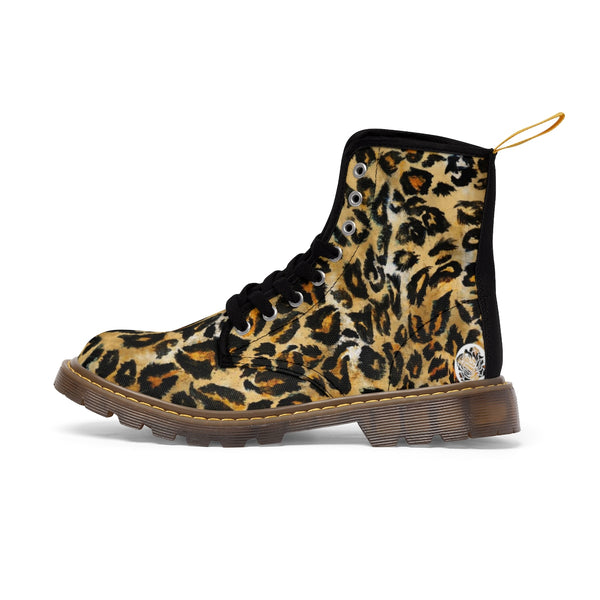 Cool Leopard Skin Pattern Animal Print Women's Winter Lace-up Toe Cap Boots Shoes-Women's Boots-Brown-US 10-Heidi Kimura Art LLC