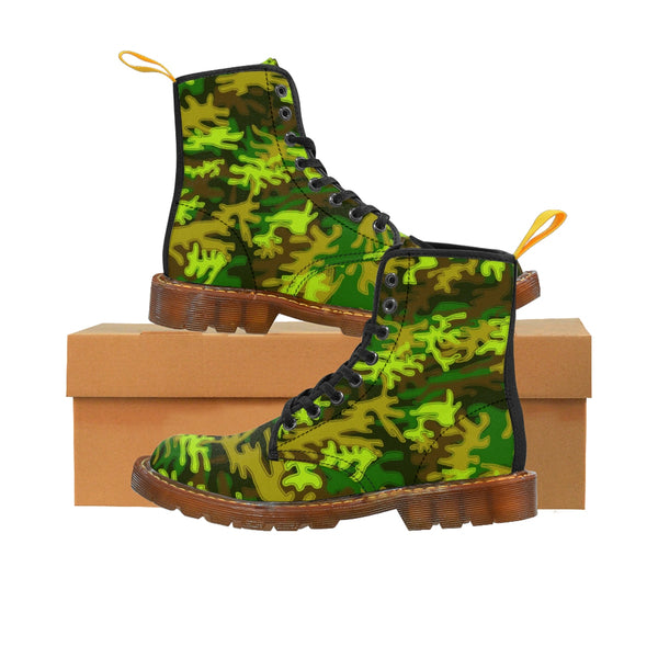 Bright Green Camouflage Military Army Print Men's Canvas Winter Laced Up Boots-Men's Boots-Brown-US 8-Heidi Kimura Art LLC